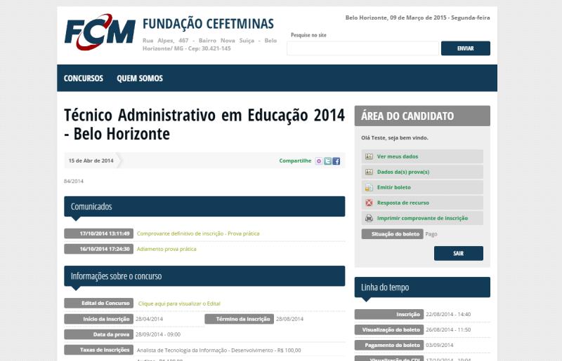Página Inicial - Área do Candidato
